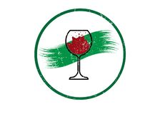 Biological wine concept, Organic Red Wine Glass Icon, biodynamic cultivation, Wineglass logo, Glassware vintage round symbol Icon. Vector Art Illustration royalty free illustration