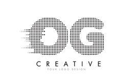 OG O G listu logo z czerń śladami i kropkami Zdjęcie Royalty Free