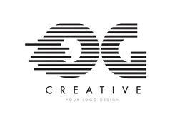 OG O G zebry listu loga projekt z Czarny I Biały lampasami Fotografia Stock