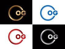 OG-Textgoldschwarze silberne moderne kreative Alphabetbuchstabelogoentwurfs-Vektorikone stock abbildung