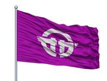 Oga City Flag On Flagpole, Japon, Akita Prefecture, d'isolement sur le fond blanc Illustration Libre de Droits