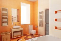 Ogange bahtroom interior Stock Image