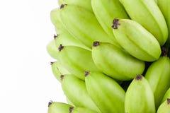 Oganic groene bananen op wit geïsoleerd fruitvoedsel het achtergrond gezond van Pisang Mas Banana Stock Foto