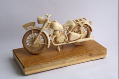 Ogar 250 1939. Wooden copy of motorcycle 'Ogar 250' 1939 year Royalty Free Stock Photo