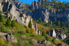 Ogden River Valley. Rocky cliff in autumn, along the Ogden River Scenic Byway in Utah royalty free stock photography