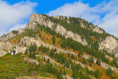 Ogden River Valley. Uplifted rock in autumn, along the Ogden River Scenic Byway in Utah royalty free stock images