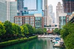 Ogden Slip i Chicago, Illinois arkivfoto
