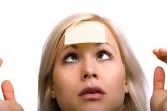 Ogen gekruist vrouwengezicht Stock Foto