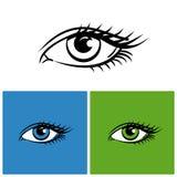 Ogen op witte, heldergroene en blauwe achtergrond worden geïsoleerd die vector illustratie