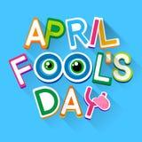 Ogen van April Holiday Greeting Card Banner van de dwaasdag de Grappige Gekke Stock Foto's