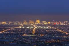 Ogenomskinlighet för Las Vegas remsaskymning fotografering för bildbyråer