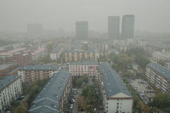 Ogenomskinlighetsluftförorening i Peking Royaltyfria Bilder