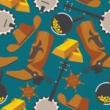 Oggetti ad ovest selvaggi per febbre dell'oro o cowboy nel modello senza cuciture su fondo blu Stivali piani del wrangler, barra  illustrazione di stock