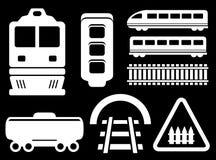 Oggetti bianchi ferroviari isolati messi Fotografia Stock
