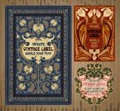 Oggetti d'annata: etichetta Art Nouveau Immagini Stock