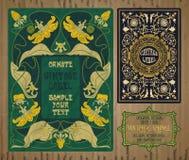 Oggetti d'annata: etichetta Art Nouveau Fotografia Stock