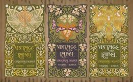 Oggetti d'annata: etichetta Art Nouveau Fotografie Stock