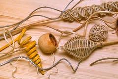 oggetti decorativi fatti di legno Immagine Stock Libera da Diritti