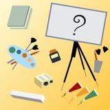 Oggetti del fondo di arte per disegnare Fotografia Stock