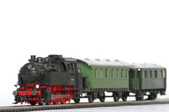 Oggetti del giocattolo del treno elettrico isolati Fotografia Stock