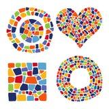 Oggetti del mosaico nelle forme differenti Fotografia Stock Libera da Diritti