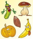 Oggetti dell'alimento del fumetto Fotografia Stock