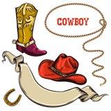 Oggetti dell'americano del cowboy Fotografia Stock Libera da Diritti
