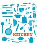 Oggetti dell'articolo da cucina messi Fotografia Stock