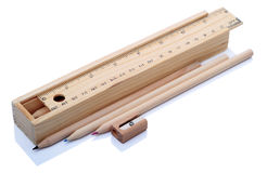 Oggetti della cancelleria di legno Fotografia Stock