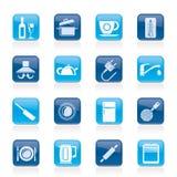 Oggetti della cucina ed icone degli accessori Fotografia Stock Libera da Diritti
