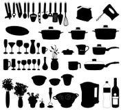 Oggetti della cucina - vettore della siluetta Immagine Stock