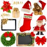 Oggetti della decorazione di Natale isolati su fondo bianco Immagine Stock