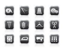 Oggetti della tessile ed icone di industria Fotografia Stock Libera da Diritti