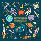 Oggetti dello spazio in universo Illustrazioni disegnate a mano di vettore royalty illustrazione gratis