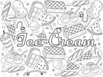Oggetti di arte lineare su un fondo bianco Tema di approvvigionamento pubblico, vacanze estive, un insieme di vario gelato royalty illustrazione gratis