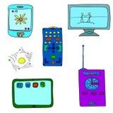 6 oggetti di attrezzatura elettronica Immagine Stock Libera da Diritti
