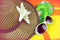 Oggetti di festa della spiaggia di estate Fotografie Stock Libere da Diritti