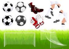 Oggetti di gioco del calcio Immagini Stock