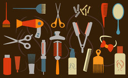 Oggetti di Hairstyling Immagini Stock Libere da Diritti