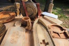 Oggetti di legno della cucina fotografia stock