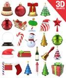 Oggetti di Natale 3D messi illustrazione vettoriale