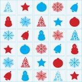 Oggetti di Natale rossi e blu Fotografia Stock Libera da Diritti