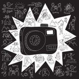 Oggetti di tiraggio della macchina fotografica illustrazione vettoriale