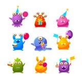 Oggetti di Toy Monsters With Birthday Party Illustrazione di Stock