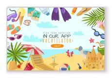 Oggetti di vacanza estiva che atterrano pagina illustrazione di stock