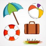Oggetti di vacanze estive Fotografia Stock
