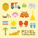 Oggetti di vettore della Tailandia isolati arte del pixel royalty illustrazione gratis