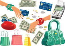 Oggetti di viaggio di acquisto Immagini Stock Libere da Diritti