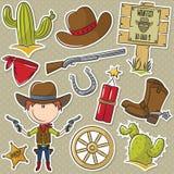 Oggetti di With Wild West del cowboy Immagine Stock