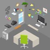Oggetti e mobilia isometrici dell'ufficio isolati vettore Immagini Stock